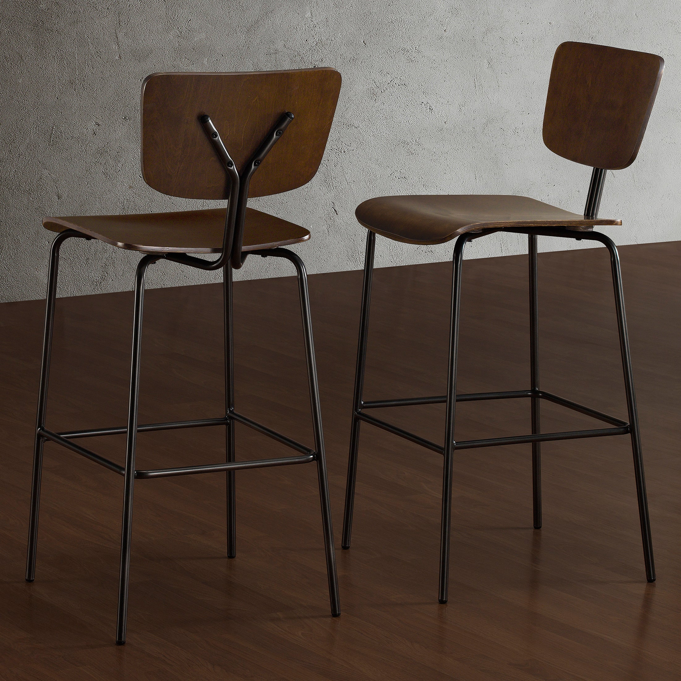 30 inch bar stools set of 2 dark walnut cushioned bar stool