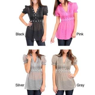 Stanzino Women's Sheer Puff Sleeve Babydoll Top