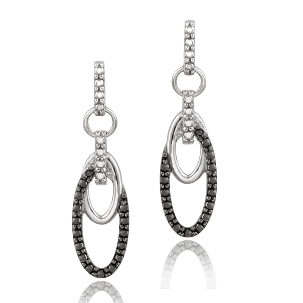 DB Designs Sterling Silver Black Diamond Accent Dangle Oval Earrings