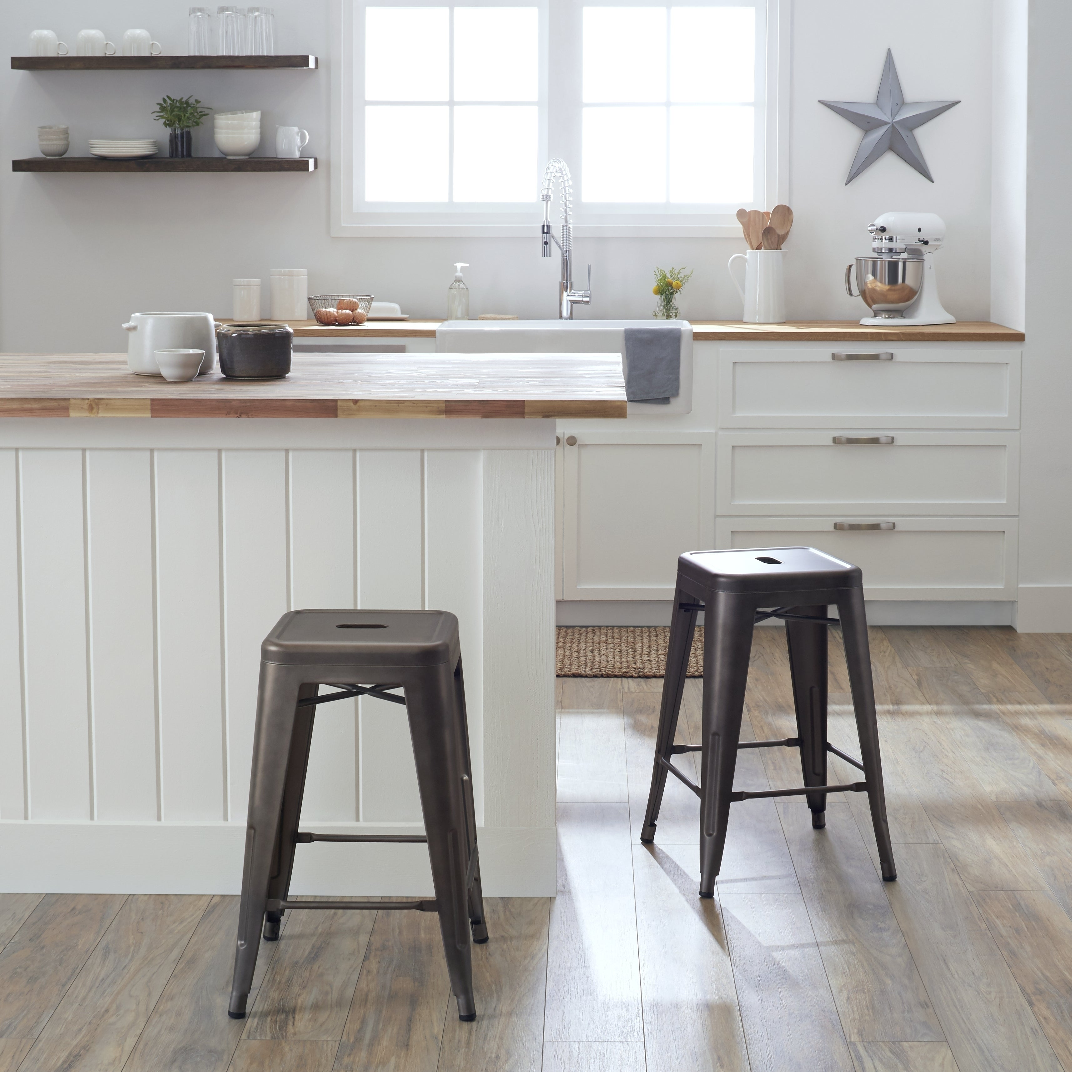 Baroque Backless Counter Stools In Kitchen Traditional