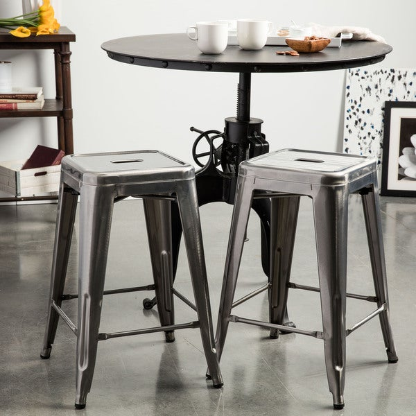 Tabouret 24 Inch Vintage And Gunmetal Counter Stool Set