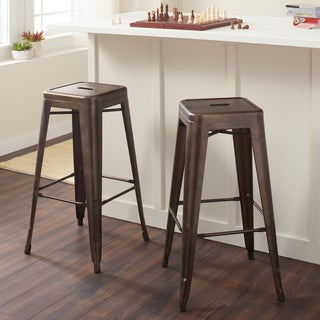 Cosmopolitan Black Leather Barstools Set Of 2 10722689