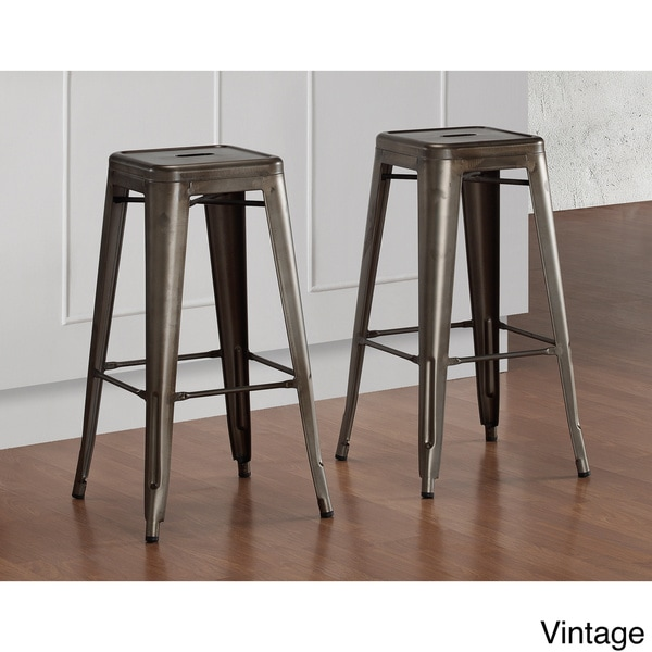 Tabouret 30 Inch Vintage And Gunmetal Bar Stools Set Of 2