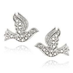DB Designs Sterling Silver Diamond Accent Dove Earrings