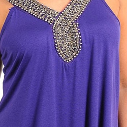 Stanzino Women's Sleeveless Purple Plus Size Tunic with Beaded Neckline
