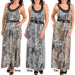 Stanzino Women's Animal Print Plus Size Maxi Dress with Belted Waist