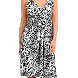Stanzino Women's Plus Animal Print Sleeveless Dress