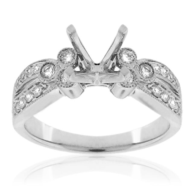 14k White Gold 1/3ct TDW Diamond Semi-mount Engagement Ring (G-H, SI1/SI2)