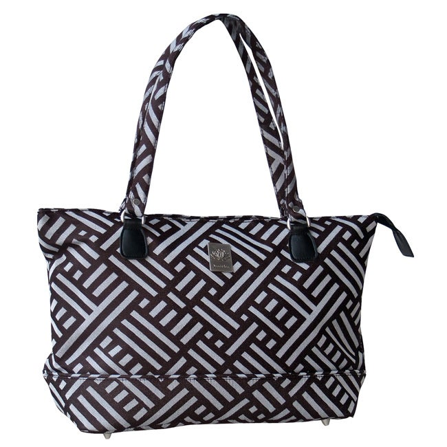 Jenni Chan Signature Brown and Silver Polyester Computer Tote