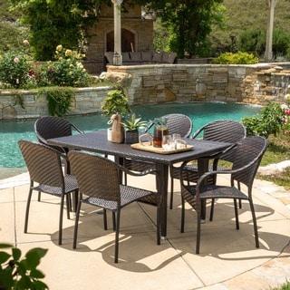 Christopher Knight Home Zumba PE Wicker 7-piece Outdoor Dining Set