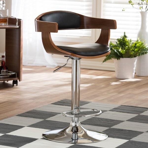 Garr Walnut and Black Modern Adjustable Bar Stool