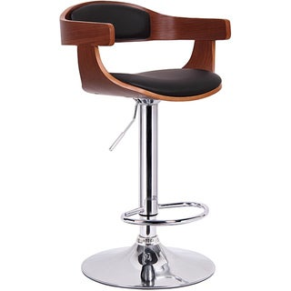 Garr Walnut and Black Modern Adjustable Bar Stool
