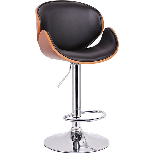 Baxton Studio Buell Walnut and Black Modern Bar Stool