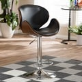 Crocus Walnut and Black Modern Bar Stool