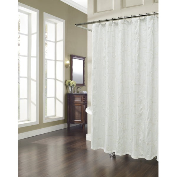 Vinery Embroidered Natural Shower Curtain
