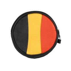 Black Color-blocked Leather Round Coin Purse