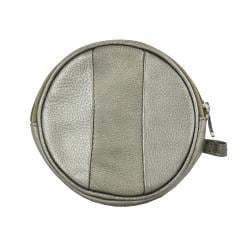Silver Leather Paneled Stripes Unisex Round Coin Compact Purse