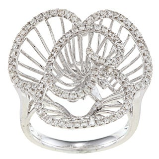 14k White Gold 7/8ct TDW Diamond Flower Ring (H-I, SI1-SI2)