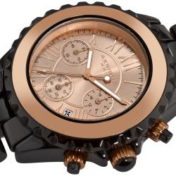 Akribos XXIV Men's Ceramic Rose-tone Chronograph Watch
