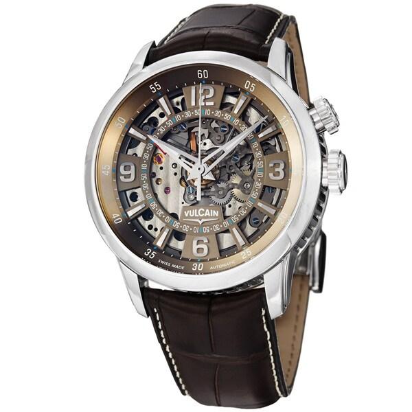 Vulcain Men's 280138.239LFBNC 'Anniversary Heart' Brown Skeleton Dial Automatic Watch