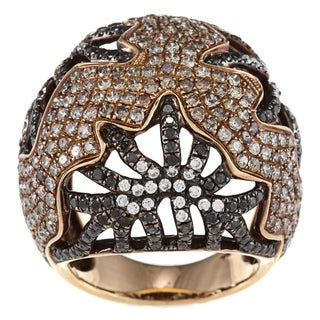 18k Rose Gold 4ct TDW White, Brown and Black Diamond Ring (I, I1)