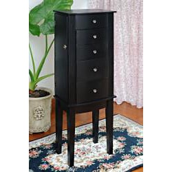 Contemporary Style Black Jewelry Armoire Chest Cabinet