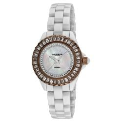 Akribos XXIV Women's Brown-Bezel Quartz Baguette Ceramic Bracelet Watch