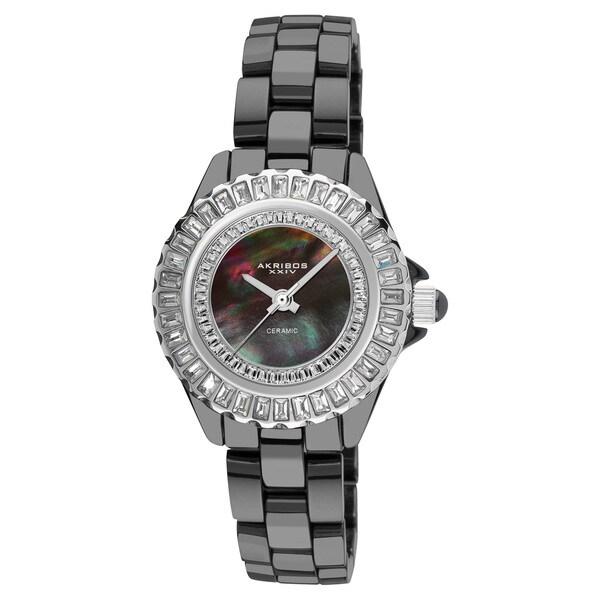 Akribos XXIV Women's Black-Dial Quartz Baguette Ceramic Bracelet Watch