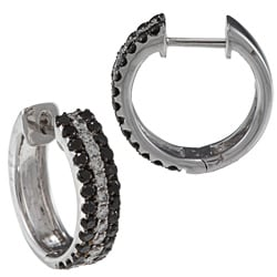 18k Gold 1 1/3ct TDW Black and White Diamond Hoop Earrings (G-H, SI1-SI2)
