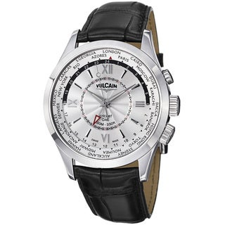 Vulcain Men's 100108.141LFBK 'Aviator GMT' Silver Dial Black Leather Strap Watch