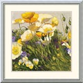 Shirley Novak 'Poppies and Pansies I' Framed Art Print