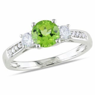 Miadora 10k White Gold Peridot and White Sapphire Diamond Accent Ring