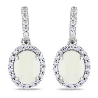 Miadora 10k White Gold Opal and Created White Sapphire Earrings