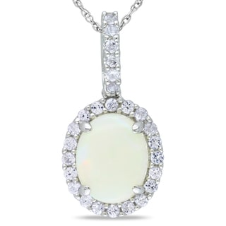 Miadora 10k White Gold Opal and White Sapphire Necklace