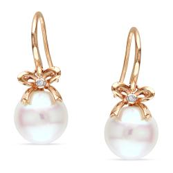 Miadora 10k Pink Gold Pearl and Diamond Accent Earrings (G-H, I1-I2)