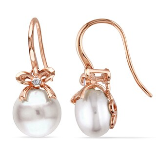 Miadora 10k Pink Gold Cultured Freshwater Pearl and Diamond Accent Earrings (G-H, I1-I2)