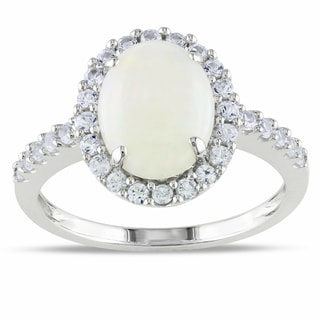 Miadora 10k White Gold 2 1/4ct TGW Opal and Created White Sapphire Ring
