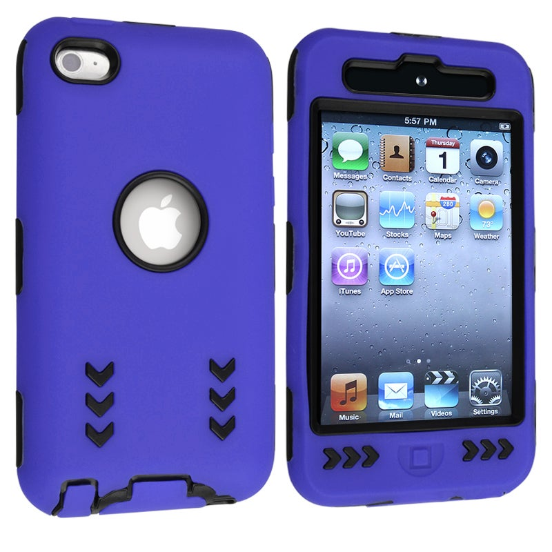 Black/ Blue Hybrid Case with Stand for Apple iPod Touch Generation 4