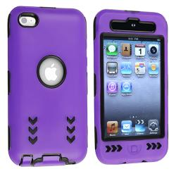 Black/ Purple Hybrid Case with Stand for Apple iPod Touch Generation 4