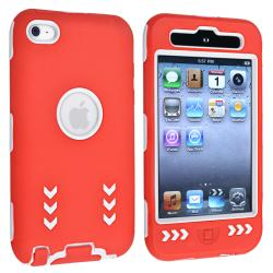 White/ Red Hybrid Case with Stand for Apple iPod Touch Generation 4