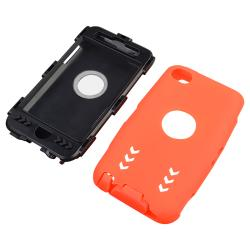 Black/ Orange Hybrid Case with Stand for Apple iPod Touch Generation 4
