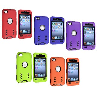 Black/ Green Hybrid Case with Stand for Apple iPod Touch Generation 4