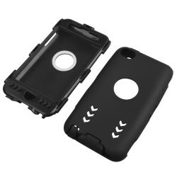 Black/ Black Hybrid Case with Stand for Apple iPod Touch Generation 4