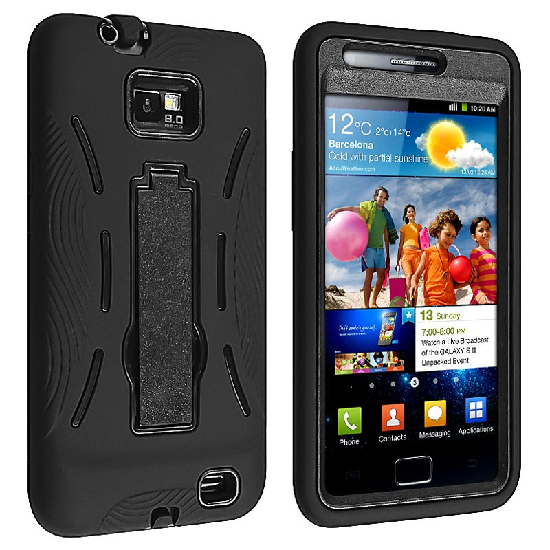 INSTEN Black/ Black Hybrid Phone Case Cover with Stand for Samsung Galaxy S II i9100
