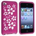 Purple Flower Silicone Skin Case for Apple iPod touch Generation 4