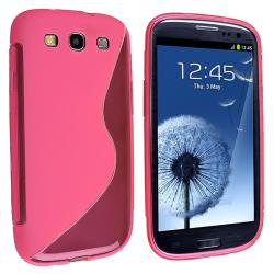 Hot Pink S Shape TPU Rubber Skin Case for Samsung Galaxy S III i9300