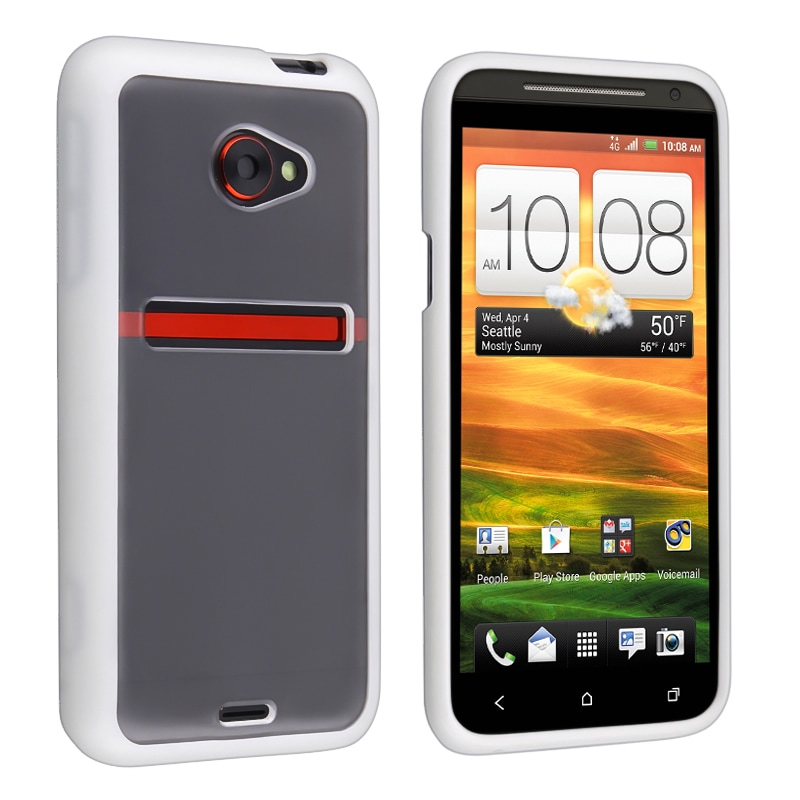 INSTEN Clear with White Trim TPU Rubber Skin Phone Case Cover for HTC EVO 4G LTE