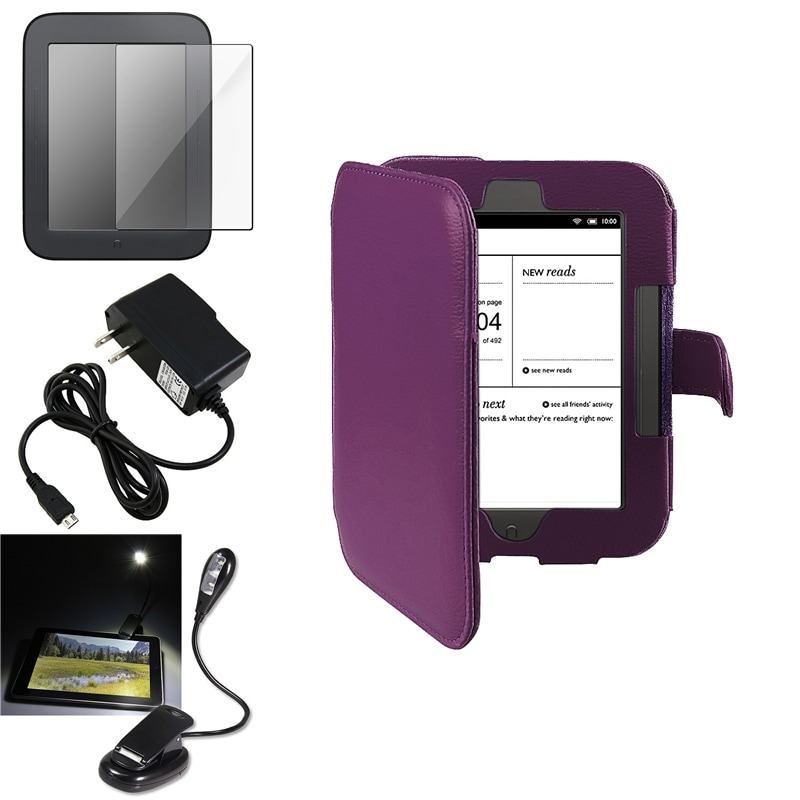 INSTEN Case Cover/ Screen Protector/ LED Light/ Charger for Barnes & Noble Nook 2