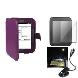 Purple Case/Screen Protector/LED Light for Barnes & Noble Nook 2 with Magnet Closure