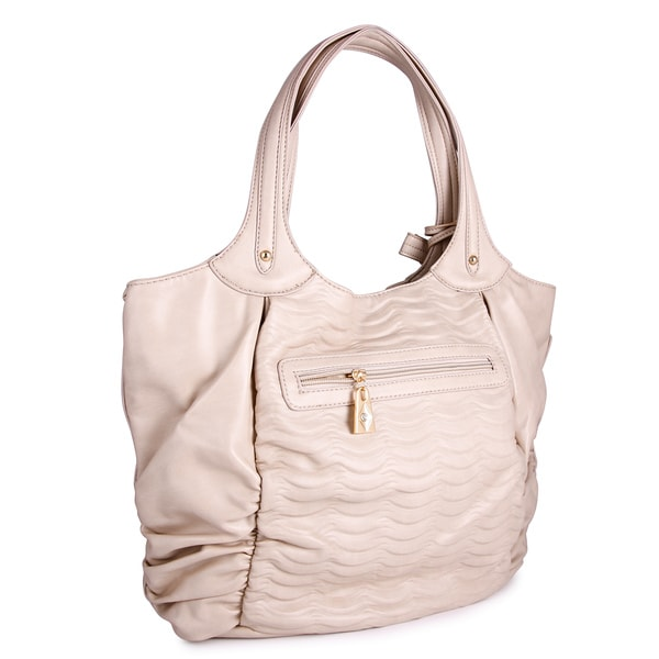 M by Miadora 'Natasha' Beige Faux Leather Tote Bag